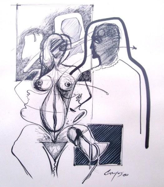 Dibujo para un relato de Fernando Bellón fechado en 1983.